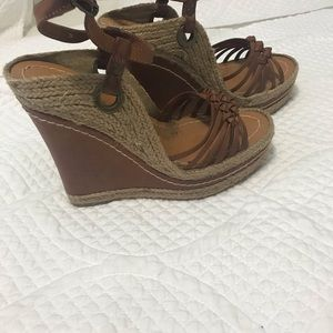 Mia rope & leather wedges like new